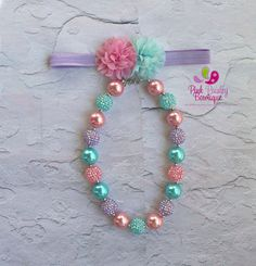 A personal favorite from my Etsy shop https://www.etsy.com/listing/510904873/easter-necklace-headband-set-easter-babyEaster necklace headband set, Easter baby headband, Mint Pink birthday, Baby Girl chunky necklace, cake smash photo prop, Pink Purple Mint
