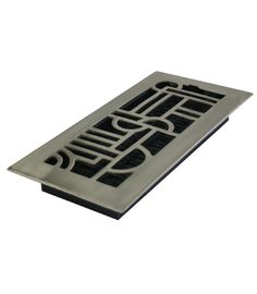 "Art Deco Design: 4X10"" Solid Brass Floor Register - Brushed Nickel (Available in Aluminum)"