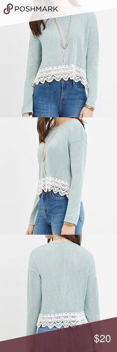 Forever 21 sage crochet-hem knit top Brand new with tags! Forever 21 sage crochet-hem knit top. Size medium. Please use the offer tool for offers and not in the comments. I'm not interested in trading. Forever 21 Tops