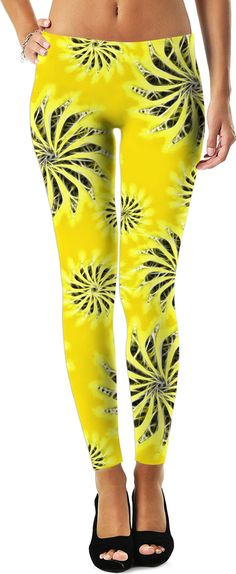 Silver spinning stars on yellow, abstract energetic pattern. Leggings - for more art and design be sure to visit www.casemiroarts.com, item printed by RageOn at www.rageon.com/a/users/casemiroarts - also available at www.casemiroarts.com This product is hand made and made on-demand. Expect delivery to US in 11-20 business days (international 14-30 business days). (time frames are aproximate) #leggings #clothing #style #unique #fashion