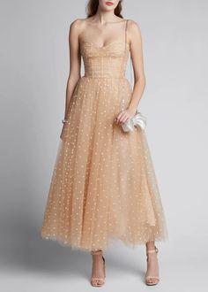 Monique Lhuillier Polka Dot Tulle Strapless Tea-length Dress In Light Pink Elegant Dresses, Pretty Dresses, Beautiful Dresses, Neutral Formal Dresses, Vintage Formal Dresses, Tulle Dress, Strapless Dress Formal, Dress Up, Dior Dress