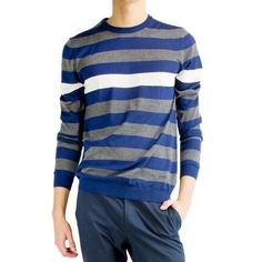 Gucci blue and grey striped light sweater