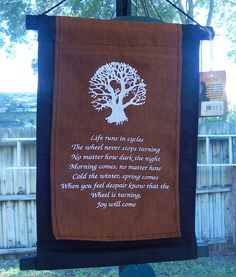 Tree of Life Inspirational Wall Hanging - Cotton World Tree Banner Pagan Druid