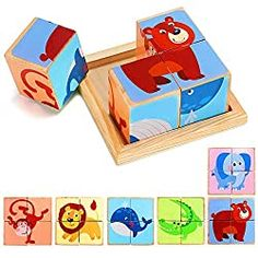 Lewo 6 in 1 Wooden Animal Block Puzzle Big Cube Elephant Monkey Fish Bear Lion Crocodile patterns blocks with Wood Storage Tray for toddlers boys girls 3 4 5 years old Puzzles For Toddlers, Games For Kids, Diy For Kids, Toddler Puzzles, Kids Study Desk, Wood Crafts, Diy Crafts, Cube Puzzle, Wooden Animals