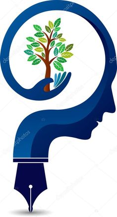 Illustration art of a mind tree logo with isolated background