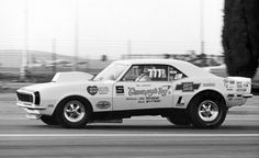 "Camaros have long been among America's most-raced cars. Alongside Donohue's Camaro, legends like Bill ""Grumpy"" Jenkins was campaigning Camaros in NHRA drag racing. Here's Grumpy's 1968 Camaro on its way to winning the very first Pro Stock title at the 1970 Winternationals."