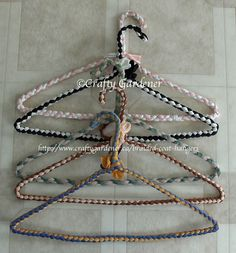braided covered coat hangers made with Phentex or Nylotex material strips ... link to a free printable pattern from http://www.craftygardener.ca
