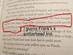 He isn't even dyslexic so I guess he read the series. Percy Jackson Head Canon, Percy Jackson Quotes, Percy Jackson Fan Art, Percy Jackson Books, Percy Jackson Fandom, Percabeth, Solangelo, Rick Riordan Series, Rick Riordan Books