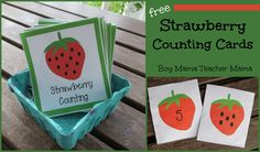 FREE Strawberry Counting Cards I have berries on the brain this week. Walking around the Farmer's Market on Saturday mornings, I cannot help but notice how beautiful all the berries are. Numbers Preschool, Math Numbers, Preschool Classroom, Kindergarten Math, Teaching Math, Counting Activities, Preschool Activities, Summer Activities, Book Activities