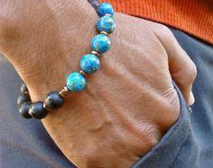 Men's Spiritual Love Bracelet with Semi Precious by tocijewelry