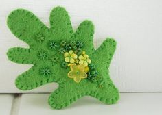 Hand Embroidered Wool Felt Brooch. Spring Oak Leaf. Green. Tales From The Welsh Wood