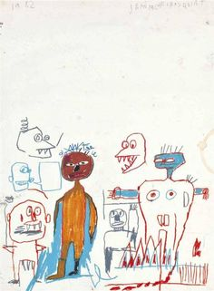 Jean-Michel Basquiat, Untitled, Wax crayon and graphite on paper , 1982