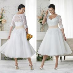 Elegant White/Ivory Tea Length Applique Bridal Gowns Plus Size Wedding Dresses