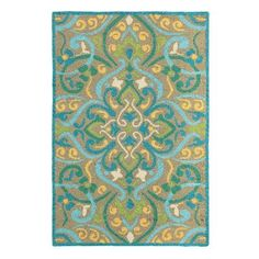 Inspired by Moroccan tile motifs, symmetrical, stylized scrolls bloom from a neutral ground in this Morocco Outdoor Rug. Display this irresistible play of golden yellow, aqua blue, and sage green on a porch or patio--or take it inside to a high-traffic entryway or kitchen.Durable and easy care outdoor rugSuitable for indoor or outdoor useHand hooked construction100% polypropyleneWater, mildew, and stain resistantSpot clean or simply spray with a hose and hang dryImported.