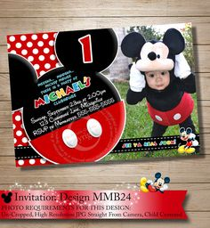 HUGE SELECTION Mickey Mouse Birthday Invitation, Clubhouse Mickey Invitation, Chevron Mickey Invitations, Mickey Photo Invitation on Etsy, $10.00