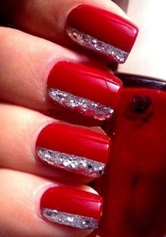 red glitter ombre nails - Google Search