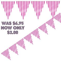 Pink Striped Bunting Flag/Party Decorations/Party Supplies/Baby Shower/SALE ON!!