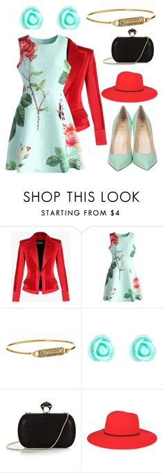 """""""Mint & red floral dress"""" by jeesxx ❤ liked on Polyvore featuring Balmain, Chicwish, Rebecca Minkoff, Monsoon, DVF, Emilio Pucci, Semilla, floral, red and dress"""
