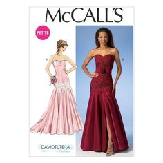 McCall's M7050 Misses'/Miss Petite Drop-Waist Dresses and Belt (14-16-18-20-22)  (semi-fitted through hips) have princess seams, sweetheart necklines, flared skirts and invisible back zippers.