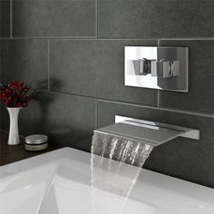 Plaza Wall Mounted Waterfall Bath Filler with Concealed Thermostatic Valve - alternate for ensuite 1