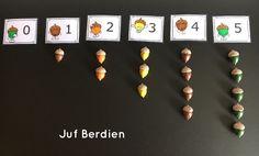 Juf Berdien Eikeltjesspel met kaartjes van Katrotje thema herfst met kleuteren Telspel Montessori, Math, School, Preschool, Fall, Mathematics, Math Resources, Early Math