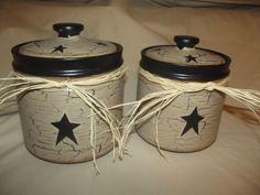 Primitive Crackle Ceramic Canister Set of 2 ~ Black Stars ~ Country Decor #NaivePrimitive