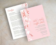 Blush pink, rose gold and coral wedding invitations, vine wedding invitation, blush pink wedding invites, coral wedding invite, pink, Davina by www.appleberryink.com