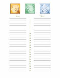 Calendario de cumpleaños y aniversario (cualquier año) - Plantillas