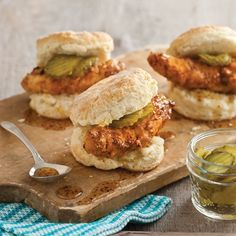 "Pickle-Brined Chicken Tenders: adapt using open faced small marshall biscuits  and smaller portion ""BAKED"" fried chicken tenderloins/ increase sauce"