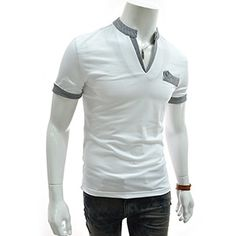 (DK33-WHITE) Slim Fit Stripe Patched Collar Point Short Sleeve Tshirts