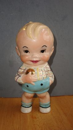 PORCELAIN BLOND HAIRED  BOY FIGURINE AMERICAN MADE FROM 1960 NOT MARKED