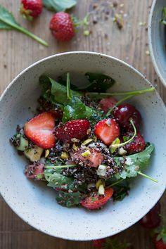 Sonja Dahlgren/Dagmar's Kitchen:: Black quinoa summer salad with baby kale, haloumi, red berries and watermelon