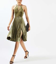 Topshop velvet pleat midi dress with chain detail