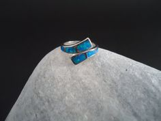 Blue opal silver ring greek jewelry bijoux by ThetisTreasures