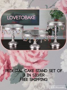 A personal favourite from my Etsy shop https://www.etsy.com/uk/listing/385922272/pedestal-cake-stand-silver-3-piece