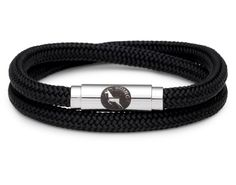 BOING Sailing Rope Wristband Bracelet: Skinny Double Wrap RAVEN - Black | Lush Labels British designed jewellery, accessories & gifts