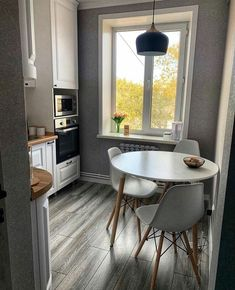 Kitchen Room Design, Home Room Design, Home Decor Kitchen, Kitchen Furniture, Furniture Design, House Design, Small Modern Kitchens, Dining Table, Dining Chairs