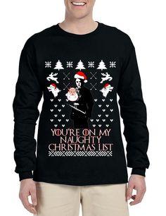 Men's Long Sleeve My Naughty Xmas List Arya Stark Ugly Christmas  #aryastark #gameofthrones #christmas #uglysweater #christmasgift