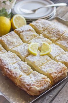 Greek Yogurt Cream Cheese Lemon Coffee Cake ~ Sweet and moist with a light lemon flavor and a creamy, crumbly topping