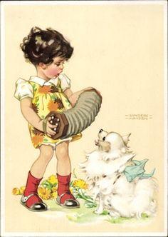 Künstler Ansichtskarte / Postkarte Lungershausen, Ilse Wende, Mädchen mit Hund, Akkordeon