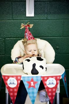Cowboy 1st Birthday Party....love the cake and hat