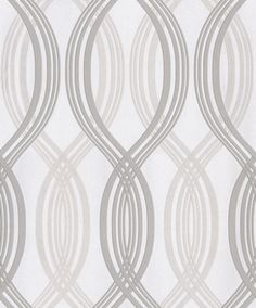 Saphyr II (208008) - Grandeco Wallpapers - An elegant hourglass design with metallic inks and a raised texture shown in white with metallic silver and pearl. This is a paste the wall wallcovering. Please request a sample for true colour match.