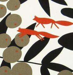 Scandinavian Fabric 70s Vtg Design Fabric Red Fox Almedahls Surt SA Raven | eBay