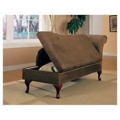 "Alpha Storage Chaise Lounge in Brown  •Construction Material: Microfiber  •Color: Brown   •Features: •Storage area   •Attached back  •Tapered arm with nailhead trim  •Exposed cabriole style feet     •Dimensions: 30"" H x 62"" W x 25"" D    $292.95"