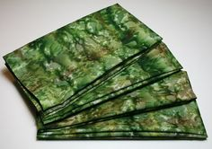 Large Cloth Napkins - Set of 4 - Green Tan Batik - Everyday Dinner Table Party Gift Napkins Cloth Napkins, Napkins Set, Green Table, Small Gifts, Outdoor Blanket, Green Desk, Tiny Gifts