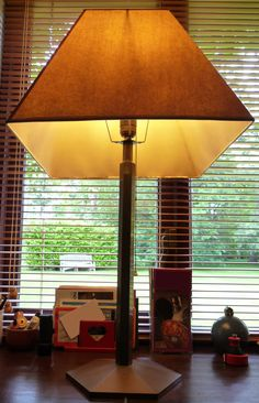 Hexagonal lamp base and custom made shade. Made by: Vladimir Bobic and one more person. www.woodsurgeons.com