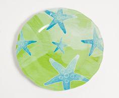 Aqua and Lime Starfish Dinner Plates - Set of 4
