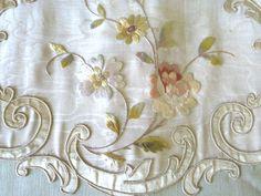 Antique French Valance Bed Pelmet & Passementerie Silk Moiré