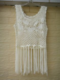 White Crochet Vest, FESTIVAL VEST, Bohemian Elongated Fringe Vest Jacket, Lace Tank Top  Ideal for layering, go perfectly with beach dree,