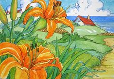 """""""Old Fashioned Roadside Lilies Storybook Cottage Series"""" - Original Fine Art for Sale - © Alida Akers"""